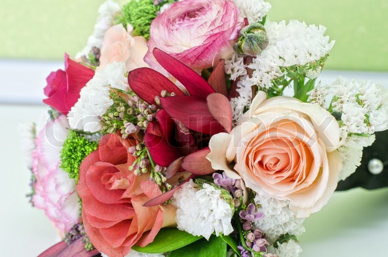 beautiful wedding flowers wedding bunch of flowers at white table stock photo 1614