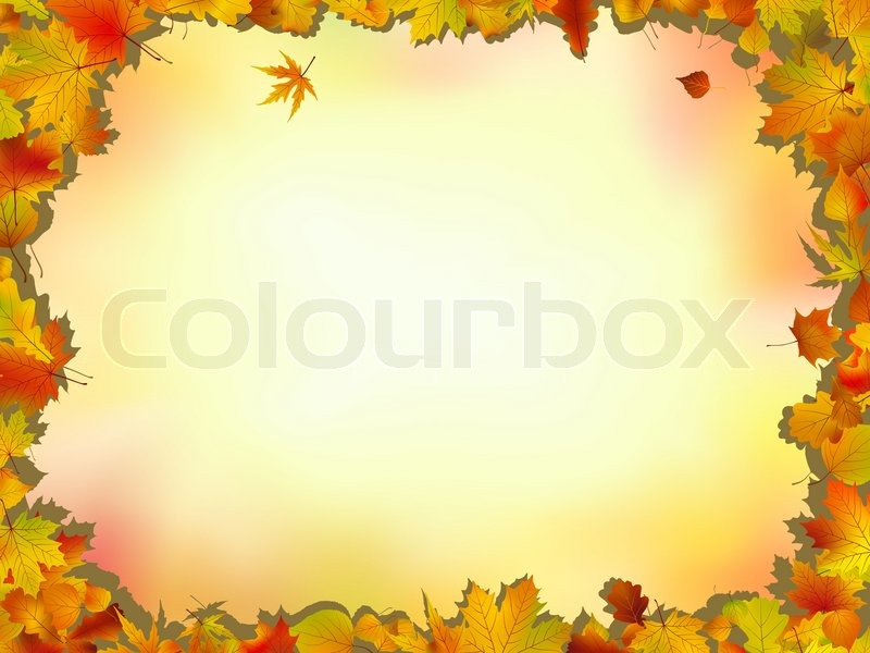 Maple and oak leaves frame on soft background for Thanksgiving and ...