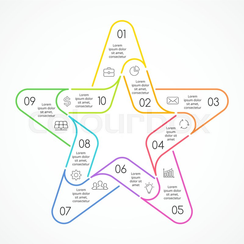 Vector Circle Linear Color Star Symbol Infographic Template For