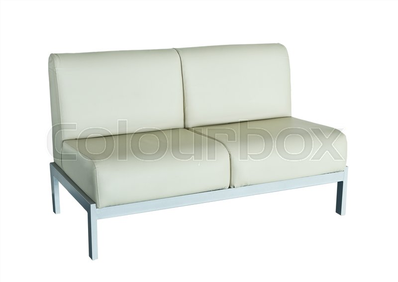 Cool Small White Leather Sofa On A White Stock Image Cjindustries Chair Design For Home Cjindustriesco