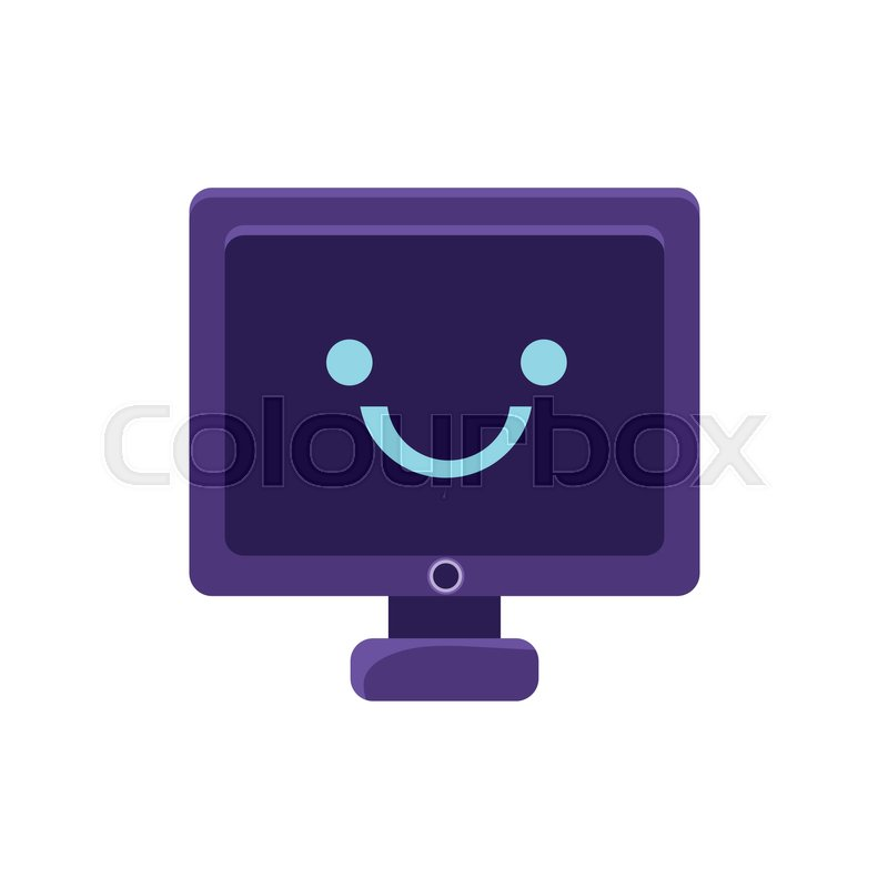 Computer Screen Primitive Icon With Smiley Face Office Or School