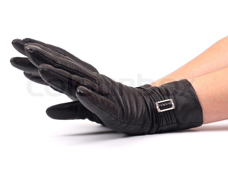 f9b1be8a4 Black leather gloves on woman hand ... | Stock image | Colourbox
