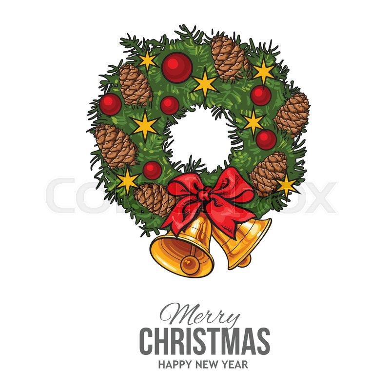 Green Cartoon Style Christmas Wreath Stock Vector Colourbox