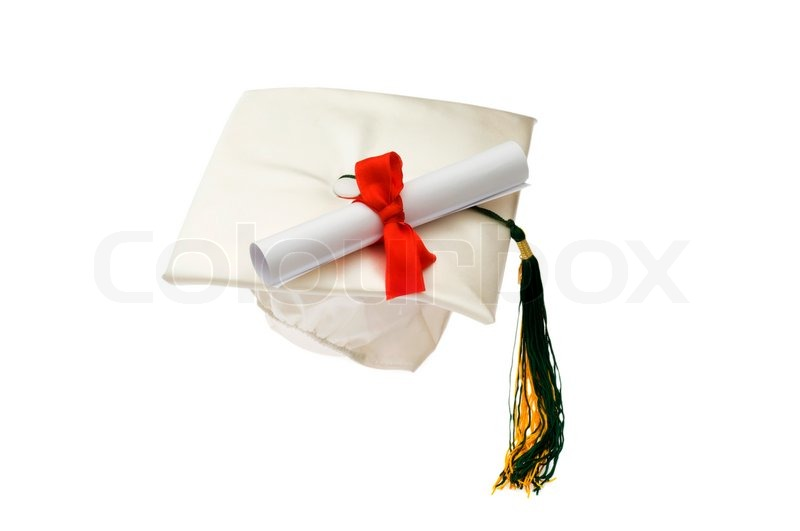 graduation cap and diploma isolated on white stock photo colourbox