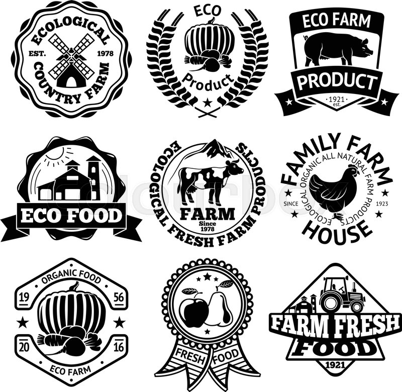 Farm Food Vector Labels Set With Stock Vector Colourbox