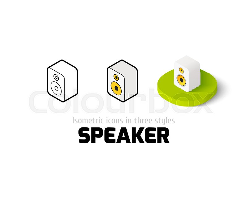 Speaker Icon Vector Symbol In Flat Outline And Isometric Style