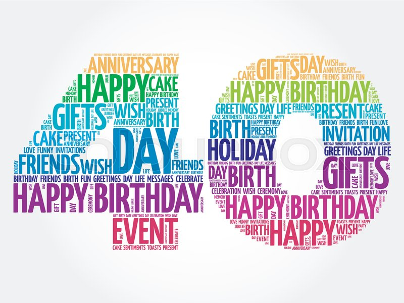 Happy 40th Birthday Word Cloud Collage Stock Vector