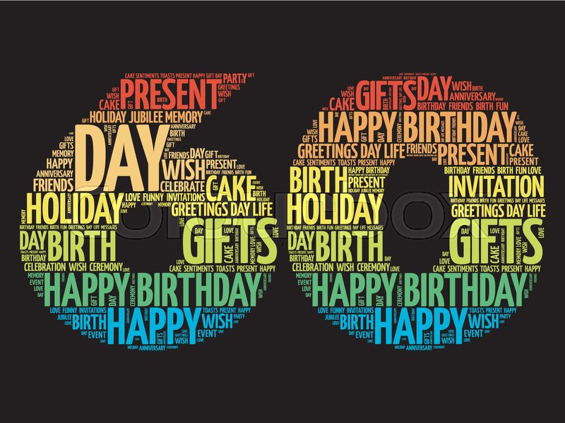Happy 60th Birthday Word Cloud Collage Stock Vector