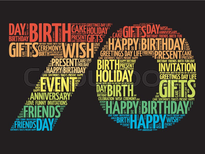 Happy 70th Birthday Word Cloud Collage