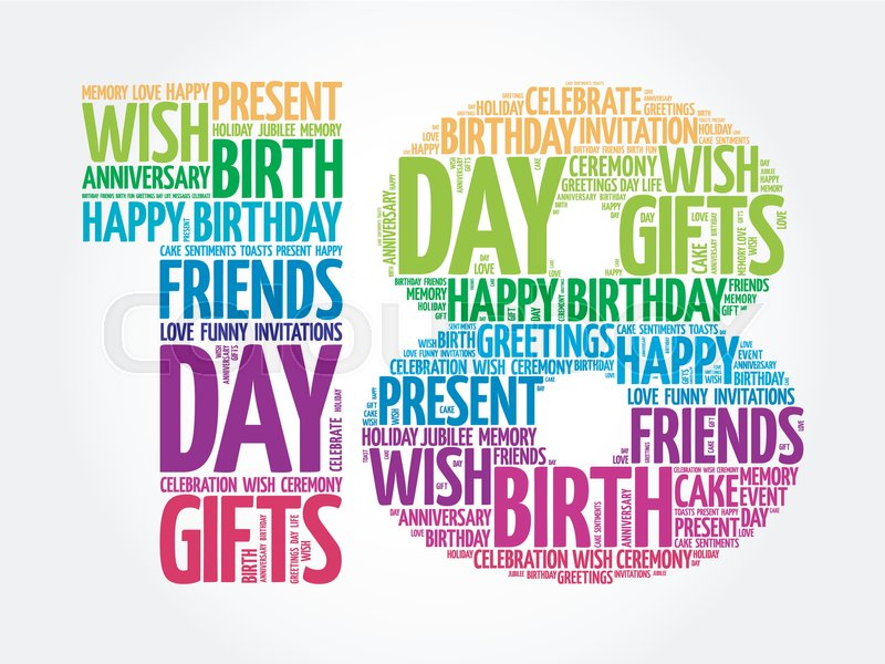 Happy 18th Birthday Word Cloud Collage Concept Stock