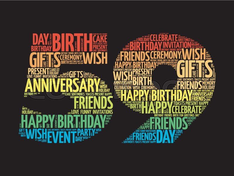 Happy 59th Birthday Word Cloud Collage Concept Stock