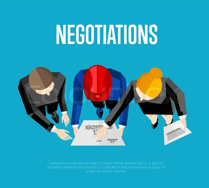 Negotiation banner vector illustration top view of construction top view of construction professionals discussing details of project with drawing three engineer builders with blueprint on blue background vector malvernweather Images