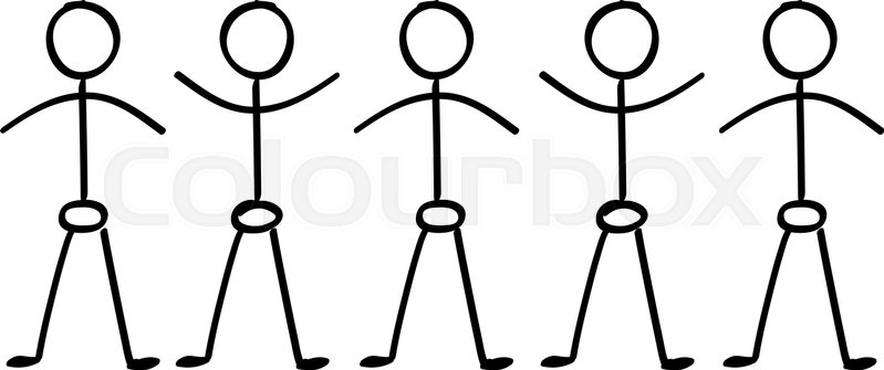 vector stick figure people holding hands in a line stock vector