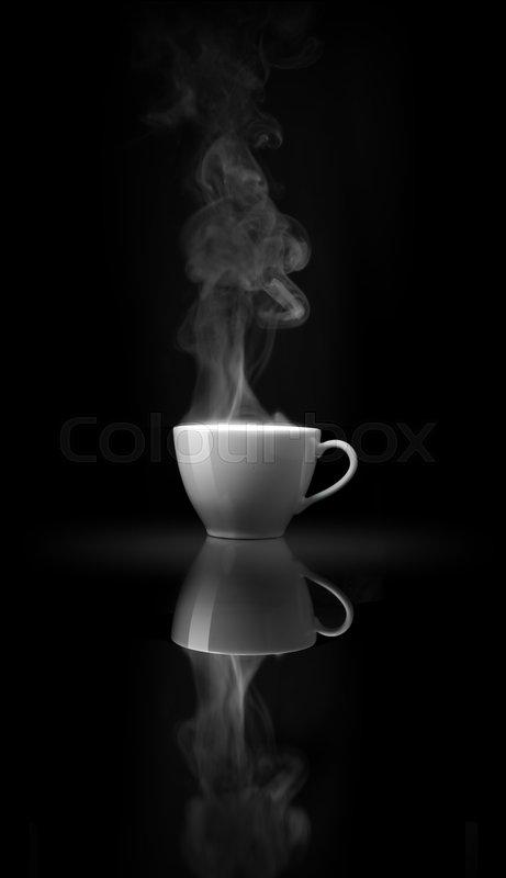 Smoke above white coffee cup on black mirror, stock photo
