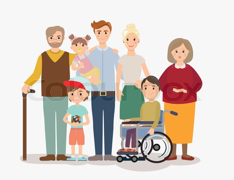 Image My Famly Png: Big Modern Family Vector Illustration. ...