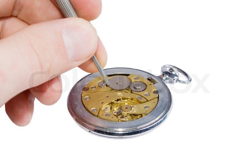 Old watch mechanism, stock photo