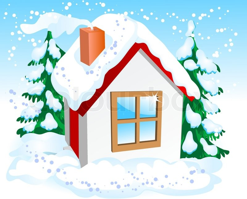 small winter house  vector