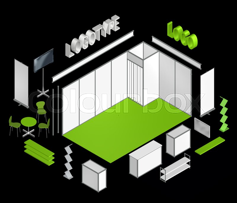 Exhibition Stand Elements : Basic exhibition stand isometric d template move or flip