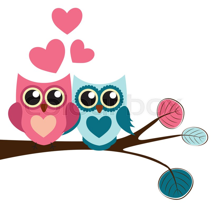 Cute Owl Pattern Background For Valentines Day With Hearts And Place