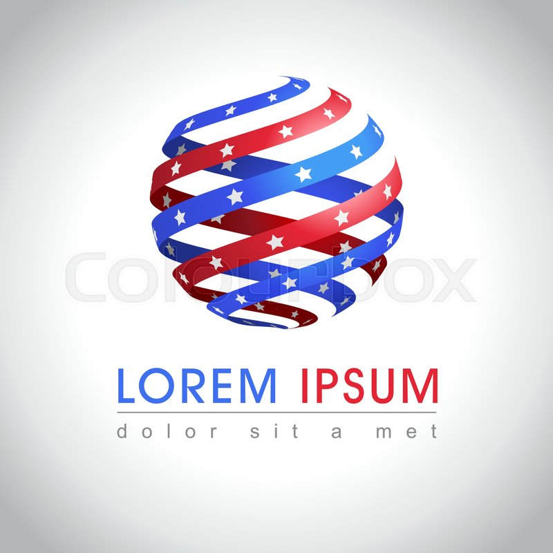 abstract round shape american flag logo sample us national symbol icon vector illustration stock vector colourbox