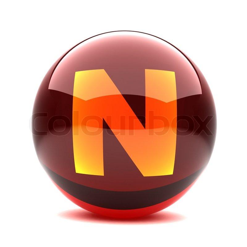 Oslikaj slova  azbuke - Page 2 2132963-81139-3d-glossy-sphere-with-orange-letter-n