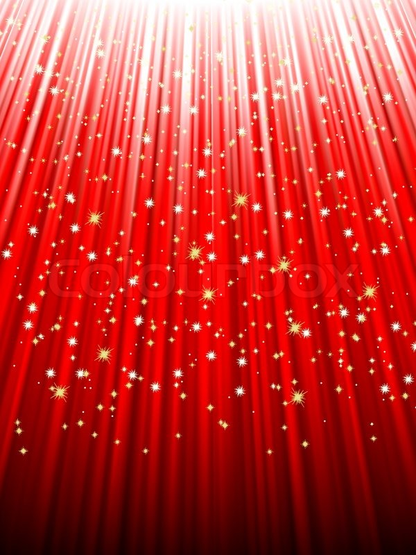 Festive red abstract background with stars descending on ...