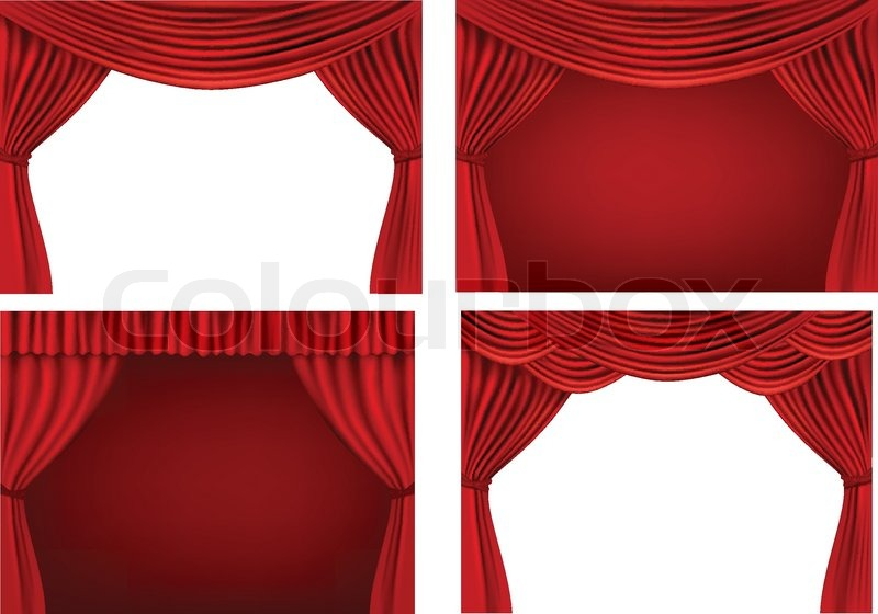 Four Backgrounds With Red Velvet Curtains Vector Illustration