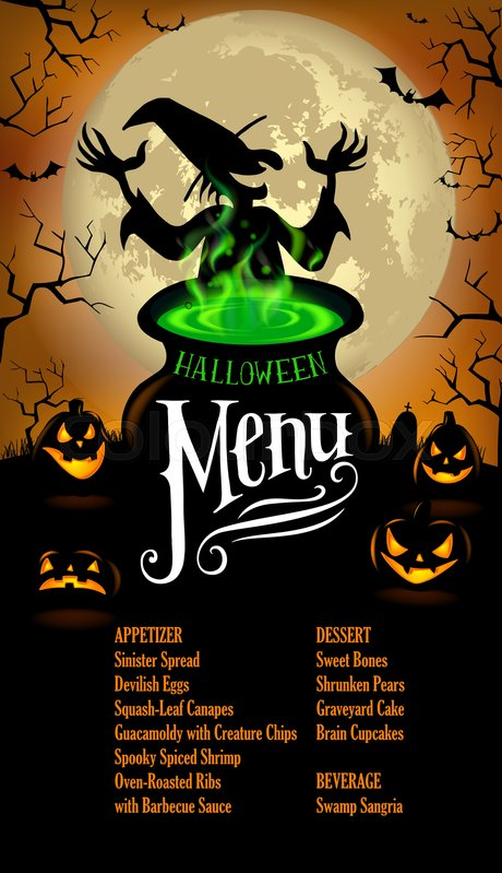 halloween menu template in vector format stock vector colourbox