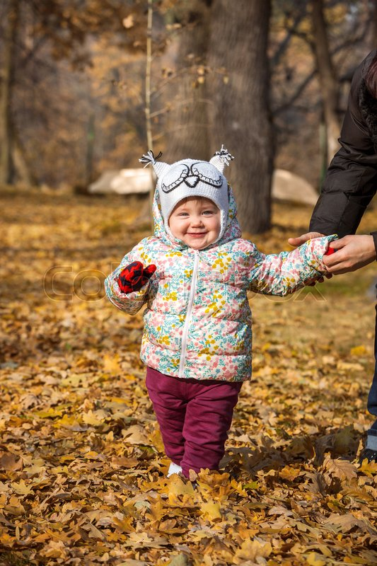 The little baby girl standing in the autumn leaves, stock photo