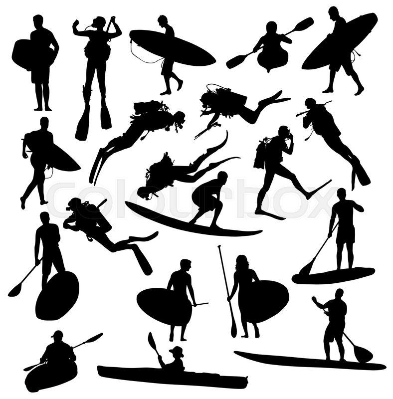 silhouette hobby and sports activities canoe surfing and scuba