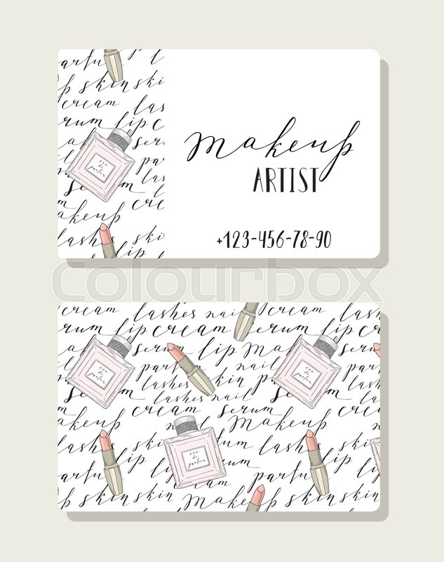 Business card for makeup artist, pattern with handwritten words ...