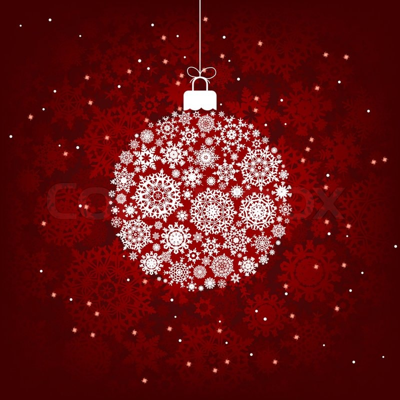 christmas decoration made from red and white snowflakes