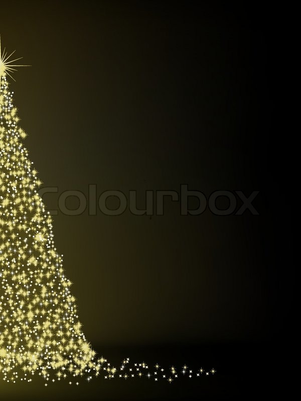 Abstract Golden Christmas Tree On Black Background Eps 8