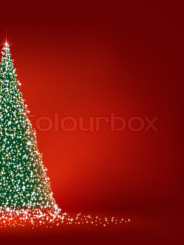 Abstract green christmas tree on red background. EPS 8 vector file ...