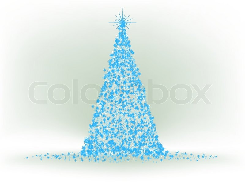 Abstract Blue Christmas Tree On Silver Background EPS 8 Vector File Included
