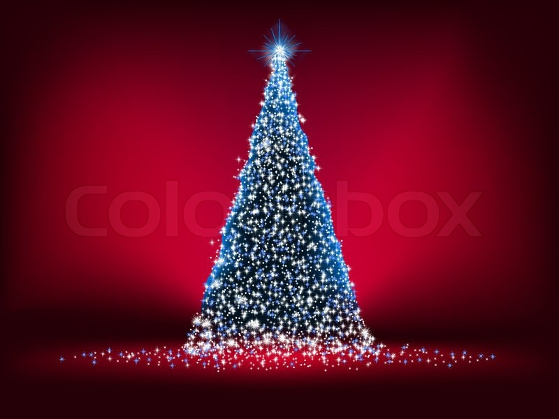 abstract blue light christmas tree on red background eps 8 vector file included stock vector colourbox - Light Christmas Tree