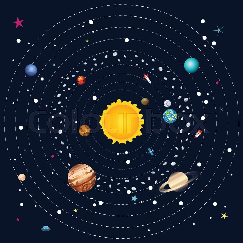 Cartoon illustration of solar system and planets around ...