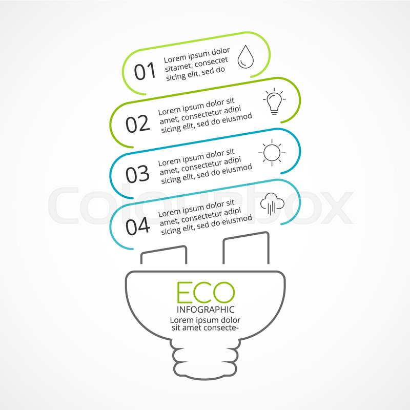 Vector Energy Efficient Light Bulb Eco Linear Infographic