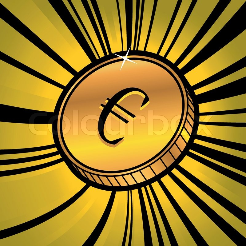 Illustration Of Golden Coin With Symbol Of Euro Currency Stock