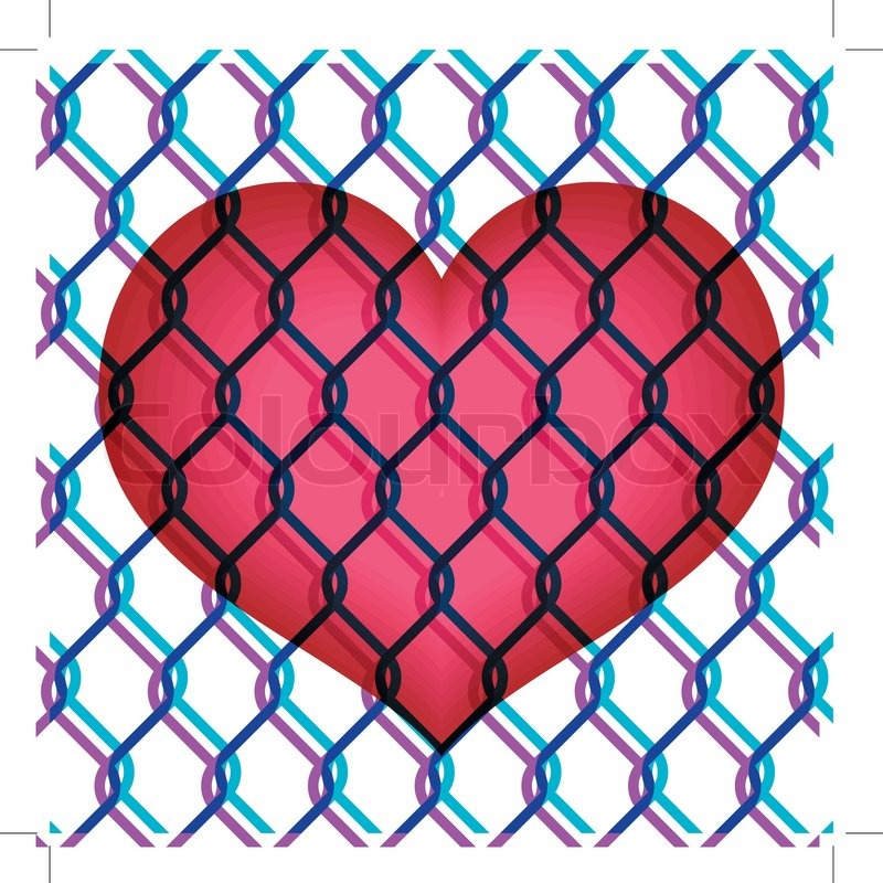 Colorful illustration of red heart under chain link fence