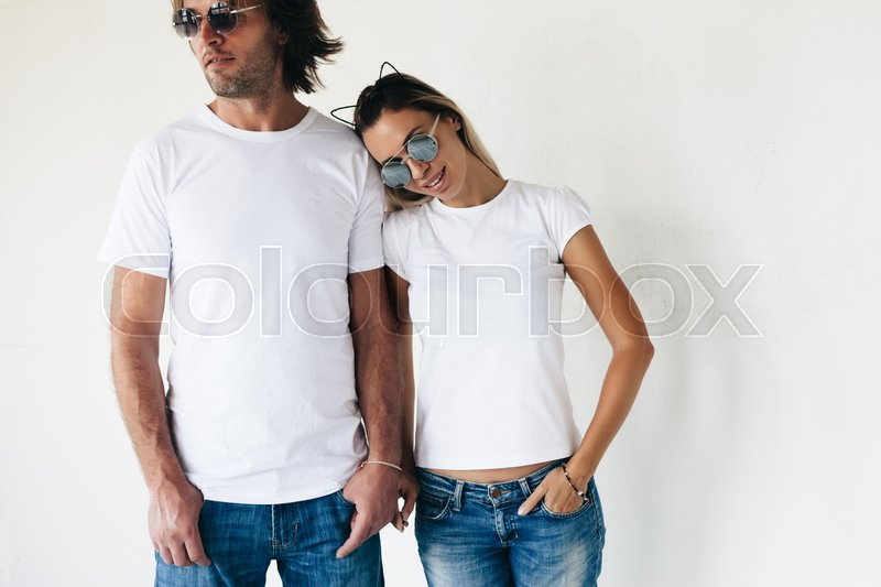 two hipster models man and woman wearing blanc tshirt