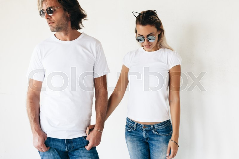 Two Hipster Models Man And Woman Wearing Blanc T Shirt Jeans And