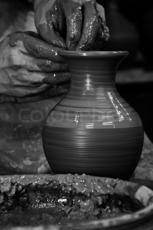 Ceramic Pottery Making Proccess Handmade Clue Pottery Potter Hands