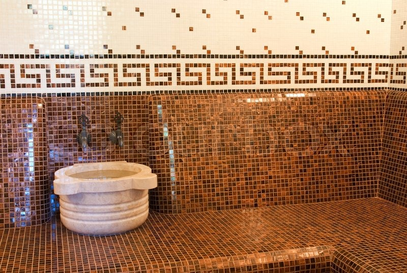 Bathroom Design Roman Style : Turkish bath with ceramic tile in roman style stock