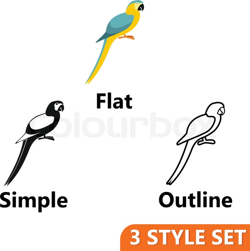 parrot icons set in flat simple and outline style isolated on white background birds symbol vector illustration vector