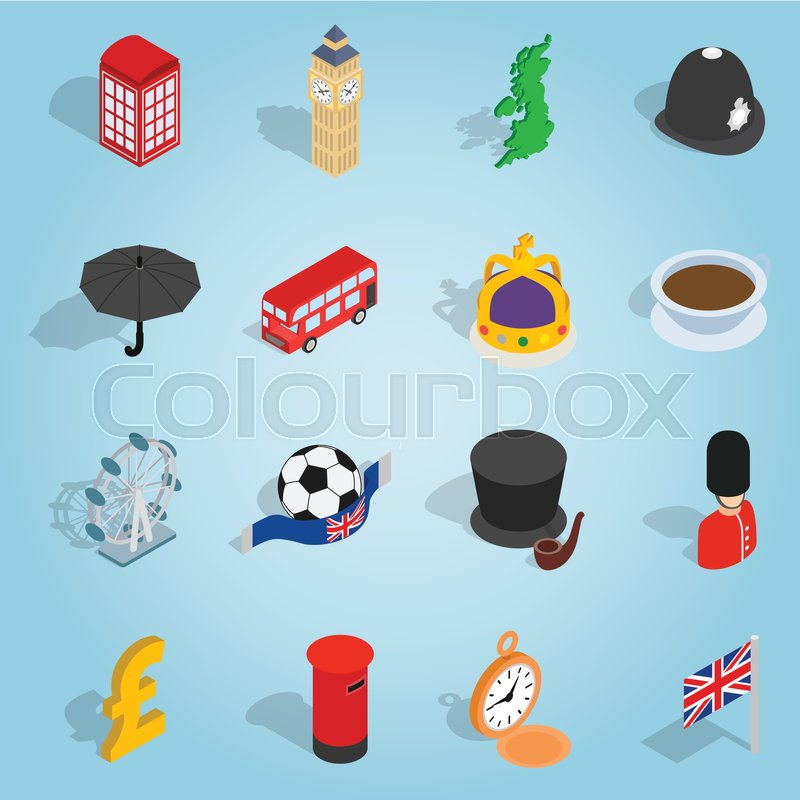 isometric britain icons set universal britain icons to use for web