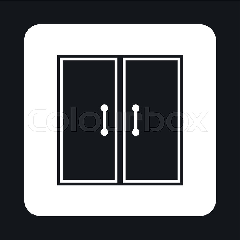 Double Door Icon In Simple Style Isolated On White Background