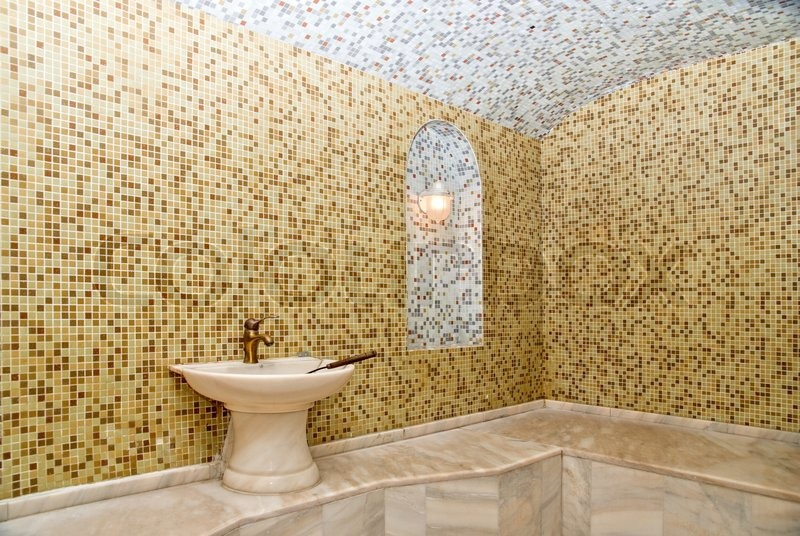 Turkish Bath With Ceramic Tile In Roman Style Stock