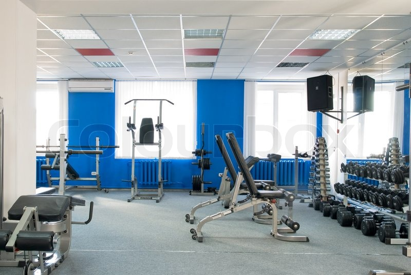 Room With Gym Equipment In The Sport Club Stock Photo