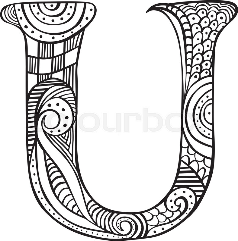 Hand drawn capital letter U in black Stock Vector